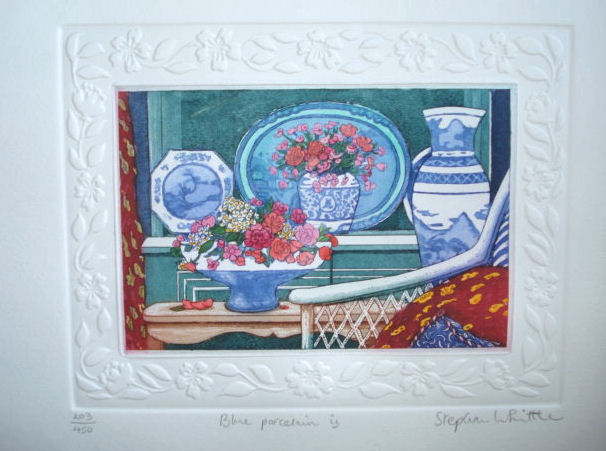 Blue Porcelain 8 6.25 11. 875 x 10 with border